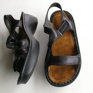 Naot Faso Sandles in Black Madras Leather